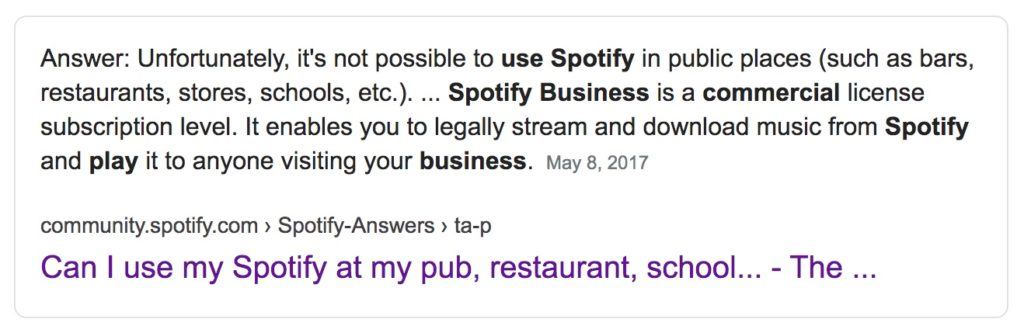 can i use spotify or apple music or deezer in my school office store gym hotel restaurant spa event bar pub salon